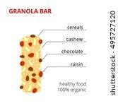 granola bar ingredients... | Shutterstock .eps vector #495727120