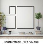 mock up poster frame in hipster ... | Shutterstock . vector #495732508