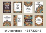 save the date. set of cards...   Shutterstock .eps vector #495733348
