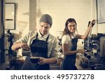 couple barista coffee shop... | Shutterstock . vector #495737278