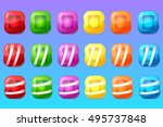 candy items for match 3 game | Shutterstock .eps vector #495737848