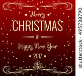 merry christmas and happy new... | Shutterstock .eps vector #495738790