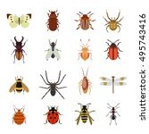 Insect vector icons flat set isolated on white background. Bug, ant, butterfly, spider and other small forest animals