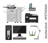 group computer office equipment ... | Shutterstock .eps vector #495743464