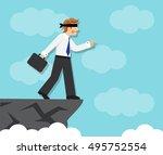 businessman blindfolded goes... | Shutterstock . vector #495752554