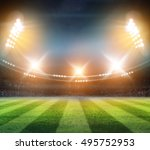 lights at night and stadium 3d... | Shutterstock . vector #495752953