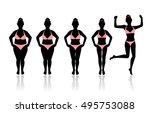 silhouettes of women losing... | Shutterstock . vector #495753088