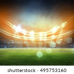 stadium in lights and flashes... | Shutterstock . vector #495753160
