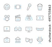 cinema thin line icons | Shutterstock .eps vector #495755863