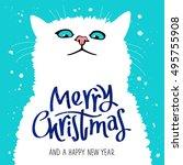 figure cute cat. quote merry... | Shutterstock .eps vector #495755908