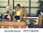 break casual coffee shop... | Shutterstock . vector #495756034