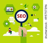 seo optimization and seo... | Shutterstock .eps vector #495757396
