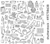 hand drawn doodle set of... | Shutterstock .eps vector #495758638