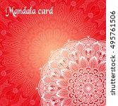red mandala card. ethnic... | Shutterstock .eps vector #495761506
