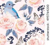 seamless vintage roses | Shutterstock .eps vector #495764200