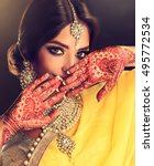 portrait of beautiful indian... | Shutterstock . vector #495772534