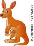 cartoon red kangaroo carrying a ... | Shutterstock .eps vector #495782539