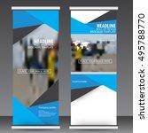 blue roll up business brochure... | Shutterstock .eps vector #495788770
