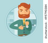 angry caucasian hipster... | Shutterstock .eps vector #495790384