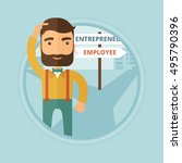 young hipster man with beard... | Shutterstock .eps vector #495790396