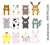 set of cute animals  cartoon... | Shutterstock .eps vector #495791134