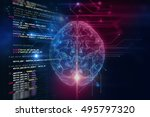 3d rendering of human  brain on ... | Shutterstock . vector #495797320