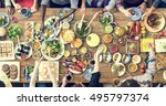 food catering cuisine culinary... | Shutterstock . vector #495797374