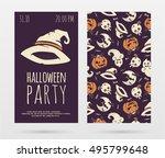 vector halloween party...   Shutterstock .eps vector #495799648