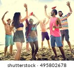 diverse young people fun beach... | Shutterstock . vector #495802678