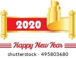 happy new year. 2020 in golden... | Shutterstock .eps vector #495803680
