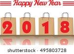 2018 annual year vector. happy... | Shutterstock .eps vector #495803728