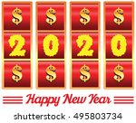 2020 annual year vector. happy... | Shutterstock .eps vector #495803734