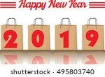 2019 annual year vector. happy... | Shutterstock .eps vector #495803740