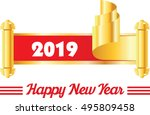 happy new year. 2019 in golden... | Shutterstock .eps vector #495809458