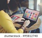 e learning online education... | Shutterstock . vector #495812740
