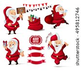 christmas collection of santa... | Shutterstock .eps vector #495812746