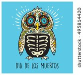 greeting card with sugar skull... | Shutterstock .eps vector #495814420