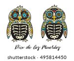 greeting card with sugar skull... | Shutterstock .eps vector #495814450
