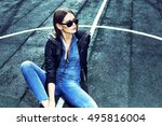 young stylish hipster woman... | Shutterstock . vector #495816004