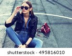 young stylish hipster woman... | Shutterstock . vector #495816010