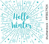 hello winter text sunburst... | Shutterstock .eps vector #495817924