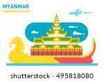 flat design karaweik palace...   Shutterstock .eps vector #495818080