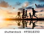 children and friend ride bikes... | Shutterstock . vector #495818350