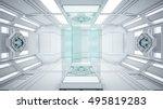 3d rendering sifi lab in white...   Shutterstock . vector #495819283