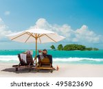 couple on the beach in bali... | Shutterstock . vector #495823690