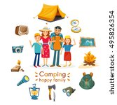 camping family hiking and... | Shutterstock .eps vector #495826354