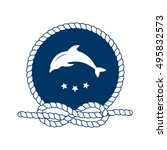nautical badge with jumping... | Shutterstock . vector #495832573
