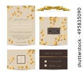 elegant wedding set with rsvp...   Shutterstock .eps vector #495835090