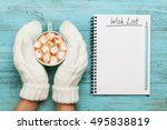 woman hands in mittens hold cup ... | Shutterstock . vector #495838819