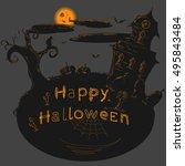 dark halloween illustration | Shutterstock .eps vector #495843484